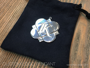Custom Logo Keychain Pendant in Polished Silver