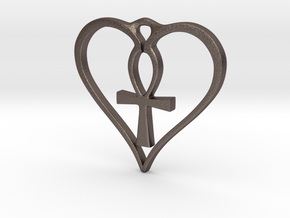 Heart Ankh Pendant in Polished Bronzed Silver Steel