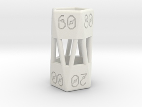 Barrel Dice RPG Set and Singles in White Strong & Flexible: d00