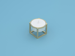 Cube Tea Light in Polished Gold Steel