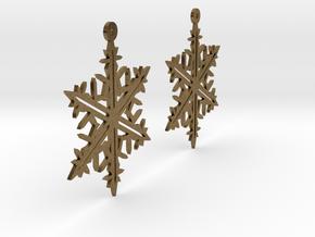 Snowflake Earring Model B in Natural Bronze