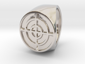 Target - Signet Ring in Rhodium Plated Brass: 6 / 51.5