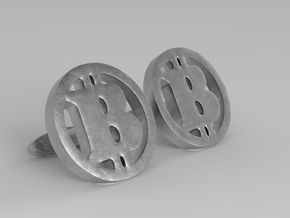 2 Bitcoin Cufflinks in Polished Bronzed Silver Steel