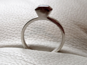 Diamond Ring (Size 7.25~7.75) in Polished Silver