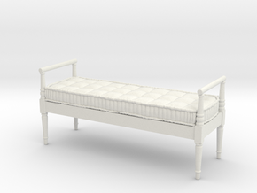 1:12 French Country Bench in White Natural Versatile Plastic