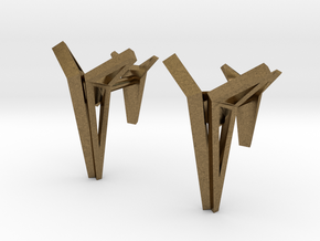 YOUNIVERSAL Origami Structure, Cufflinks in Natural Bronze
