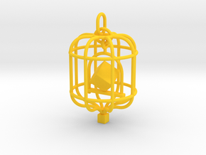 Platonic Birds - Cube in Yellow Processed Versatile Plastic