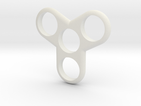 Tri-Fidget-Spinner in White Natural Versatile Plastic