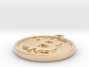 Bitcoin Keychain in 14k Gold Plated Brass