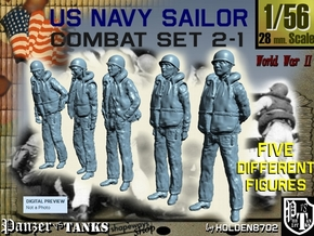 1-56 US Navy Sailors Combat SET 2-1 in Smooth Fine Detail Plastic