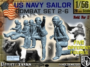 1-56 US Navy Sailors Combat SET 2-6 in Frosted Ultra Detail
