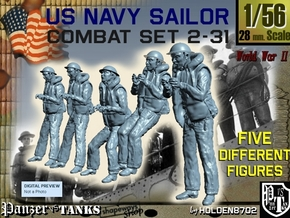 1-56 US Navy Sailors Combat SET 2-31 in Smooth Fine Detail Plastic