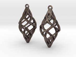 Capriccio Earrings in Polished Bronzed Silver Steel