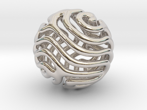 Reaction diffusion Pendant/Earring in Rhodium Plated Brass
