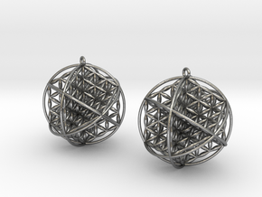 "Ball Of Life Earrings 1.5"" in Natural Silver"