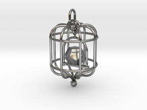 Platonic Birds - Dodecahedron in Interlocking Polished Silver