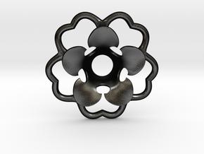 Rosette Collar Flower in Matte Black Steel