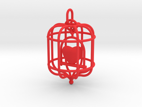 Caged Heart in Red Processed Versatile Plastic