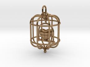 Caged Heart in Natural Brass (Interlocking Parts)