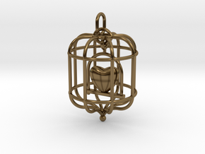 Caged Heart in Polished Bronze (Interlocking Parts)