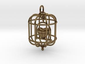 Caged Heart in Interlocking Polished Bronze