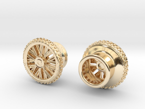 Dirtbike wheel Earing Tunnel 10mm 00G, pair in 14k Gold Plated Brass