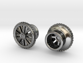 Dirtbike wheel Earing Tunnel 10mm 00G, pair in Polished Silver