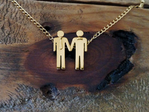 Man Loves Man Pendant - Love is Love Collection in Polished Brass