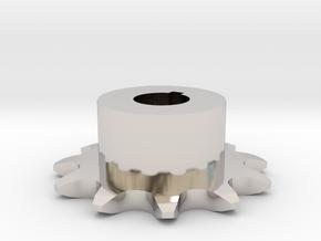 Chain sprocket ISO 05B-1 P8 Z11 in Rhodium Plated Brass