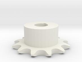 Chain sprocket ISO 05B-1 P8 Z12 in White Natural Versatile Plastic