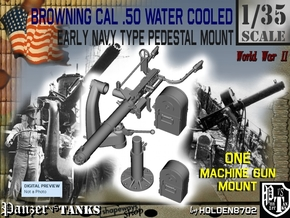 1-35 USN Cal 50 M2 WC Swan Neck Mount in Smooth Fine Detail Plastic