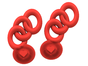 Bright Heart Earrings in Red Processed Versatile Plastic