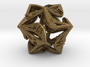 Curlicue 20-Sided Dice in Natural Bronze