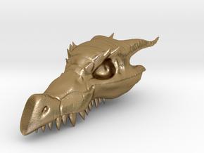 Dragon Skull Pendant - 3DKitbash.com in Polished Gold Steel