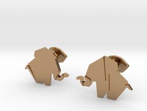 Origami Elepant Cufflink in Polished Brass