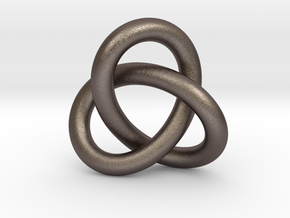 Robust Large Trefoil Knot Pendant in Polished Bronzed Silver Steel