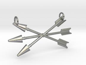 Arrows Pendant in Natural Silver