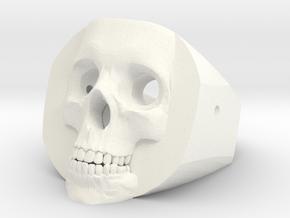 Skull Ring in White Processed Versatile Plastic: Medium
