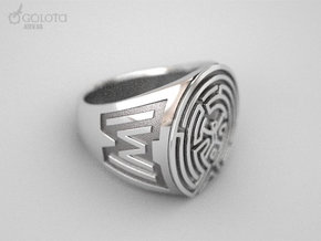 WestWorld maze Ring in Polished Bronzed Silver Steel: 8.5 / 58