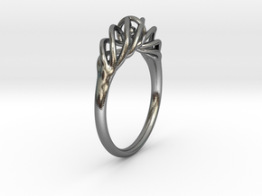 Twisted Ring Sizes 6-13 in Interlocking Polished Silver: 7 / 54