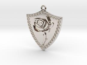 Rose Shield Pendant in Platinum