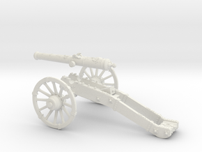 French cannon 8 Pounder 7 Years War 28mm in White Strong & Flexible