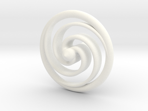 Spiral Spinning Top in White Processed Versatile Plastic