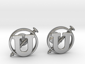 Screw U Cufflinks in Natural Silver