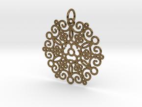 Round Cast Pattern Pendant in Interlocking Raw Bronze