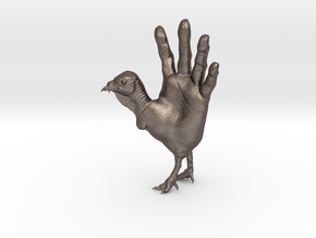 Hand Turkey in Polished Bronzed Silver Steel: Large