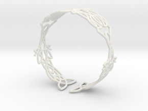 Celtic knots Cuff 5  in White Natural Versatile Plastic: Extra Small