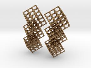 Triple Matrix Earrings in Interlocking Raw Brass