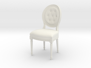 Louis XVI Side Chair in White Natural Versatile Plastic: 1:24