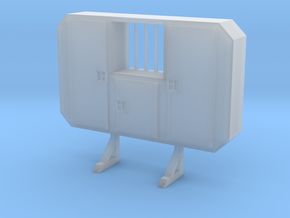 1/87 HO cabinet headache rack with window in Smooth Fine Detail Plastic